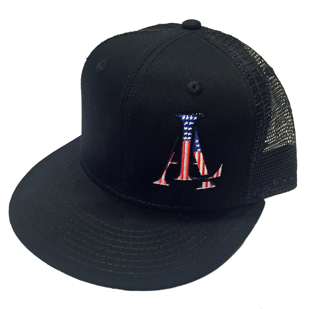 Image of Legendary American LA logo trucker hat - stars and stripes