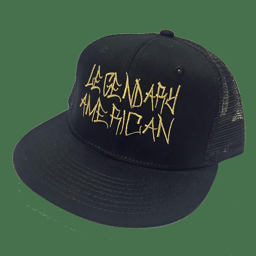 Image of Legendary American Graffiti trucker hat - gold stitch