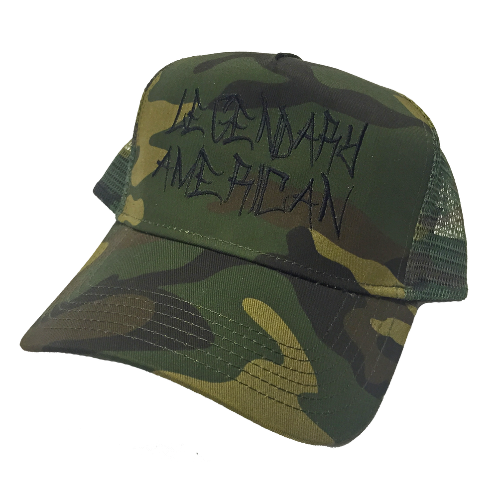 Image of Legendary American graffiti trucker hat - camo