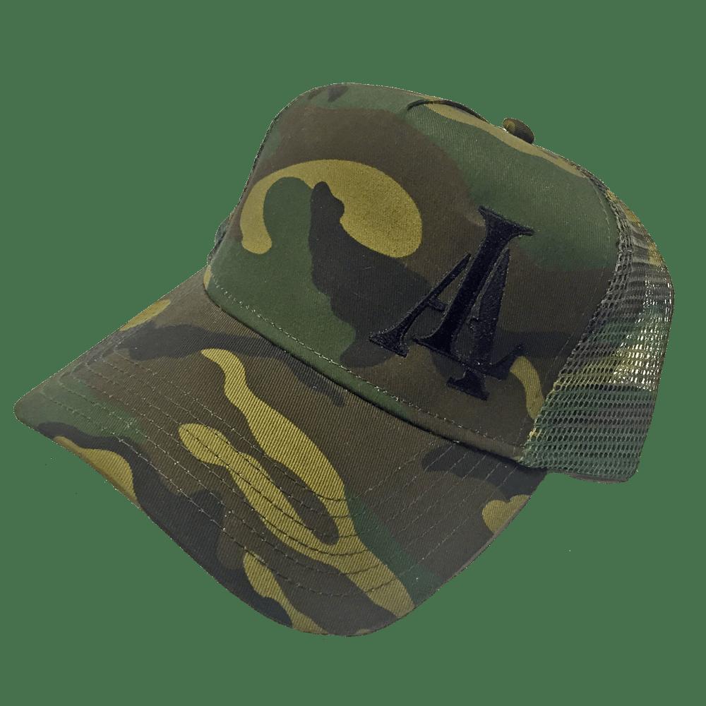 Image of Legendary American LA logo trucker hat - camo