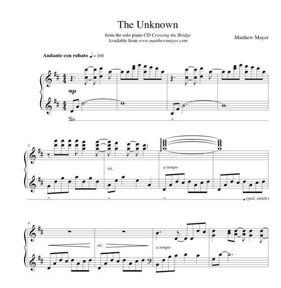 Image of NEW - The Unknown Sheet Music