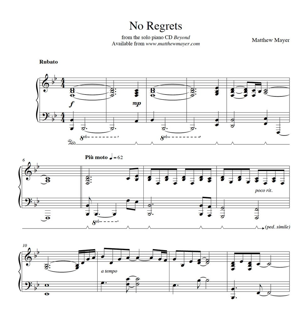 Image of New - No Regrets Sheet Music