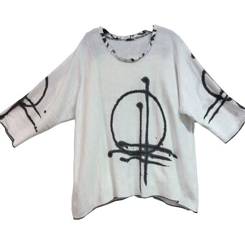 Image of Alison Tunic - white Linen/Cotton - hand painted Sunset Design
