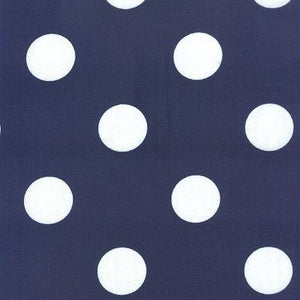 Image of FF Navy Blue and White Polka Dot Outdoor Fabric