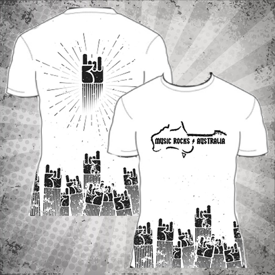 Image of Music Rocks Australia T-Shirt (White Design)