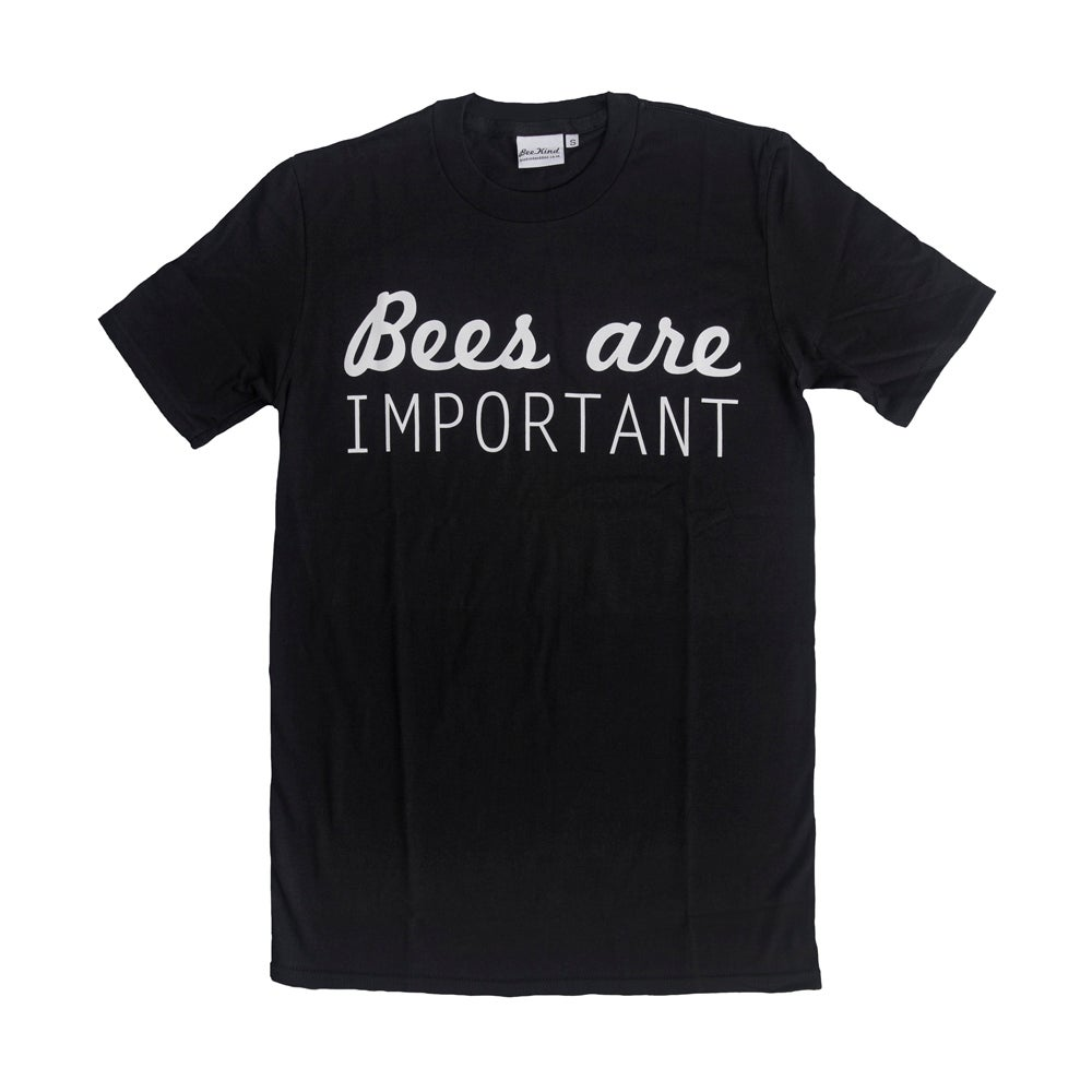 "Image of ""Bees are important"" T-shirt: white on black"