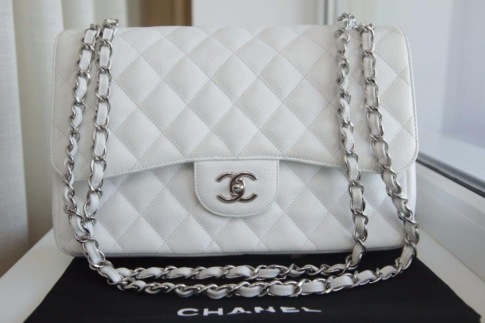 3dc53f086fbe66 Chanel White Caviar Leather Jumbo Classic Double Flap Bag / Luxeshowroom