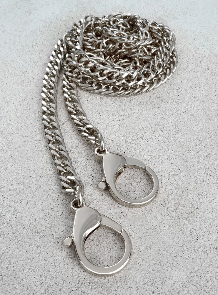 "Image of NICKEL Chain Purse Strap - Diamond Cut Double Curb - 3/8"" Wide - Choice of Length & Clasp"