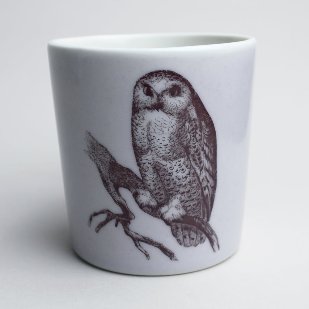 Image of 16oz mug with owl, <br />lilac