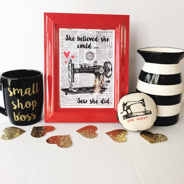 Image of Black and Red Inspirational Vintage Sewing Machine Art Print (5x7)