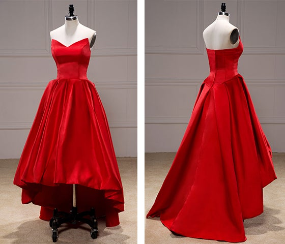 Charming Red Satin Sweetheart High Low Prom Dresses, Red Prom Dresses, Party Dresses