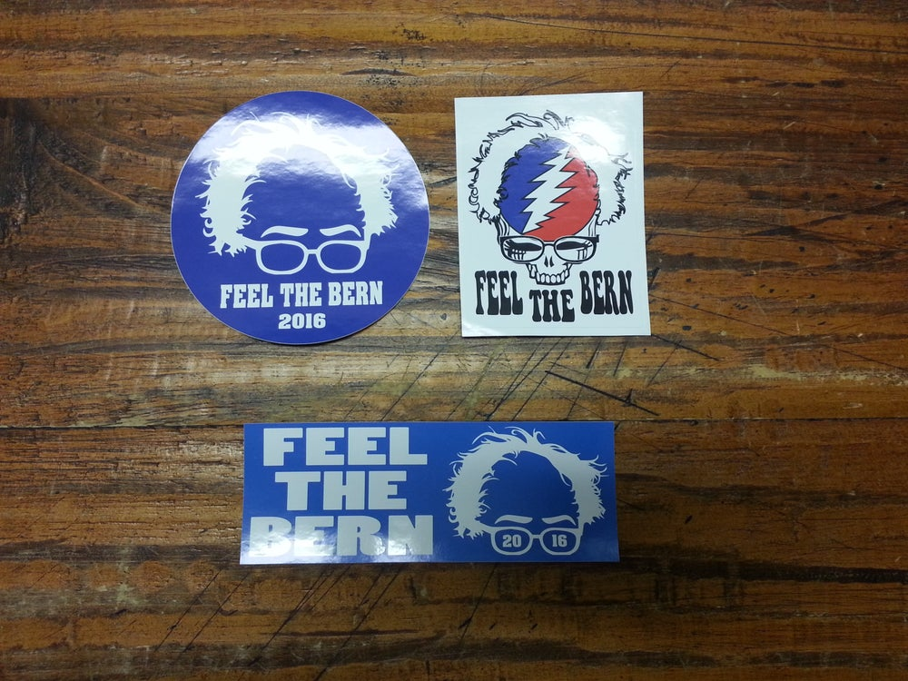 Image of Bernie Sanders Stickers - Digital printed bumper decal - Round - Grateful Dead - Rectangle