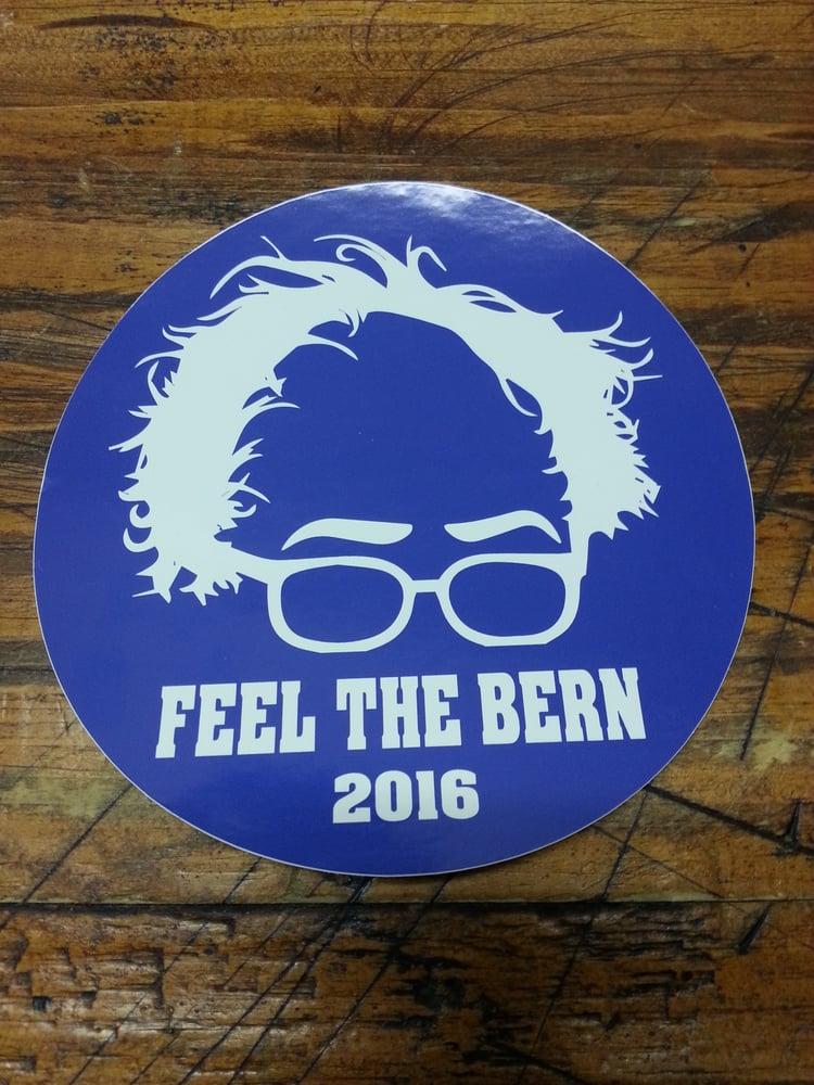 Image of Bernie Sanders Round Feel the Bern Sticker - Digital printed bumper decal
