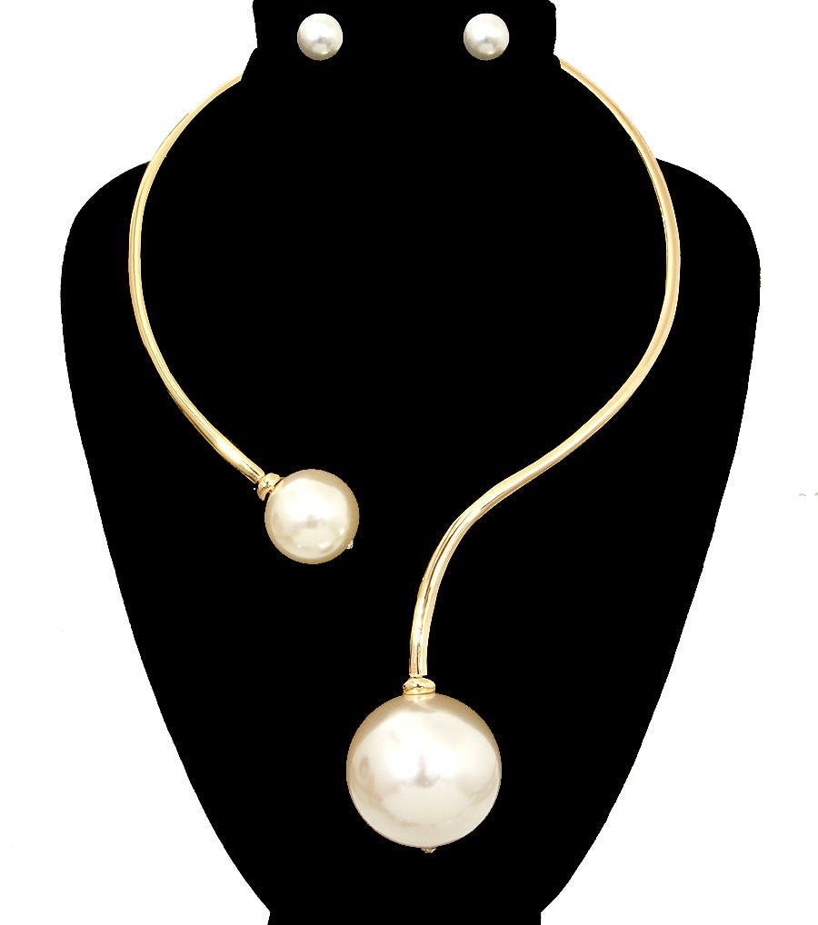 Image of Double Pearl Cuff Choker Set
