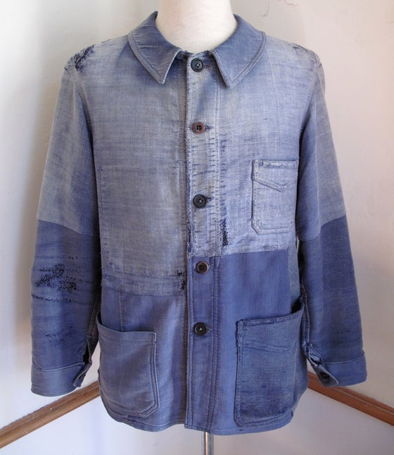 Image of <b>1930's Faded & Patched French Moleskin Work Jacket</b>
