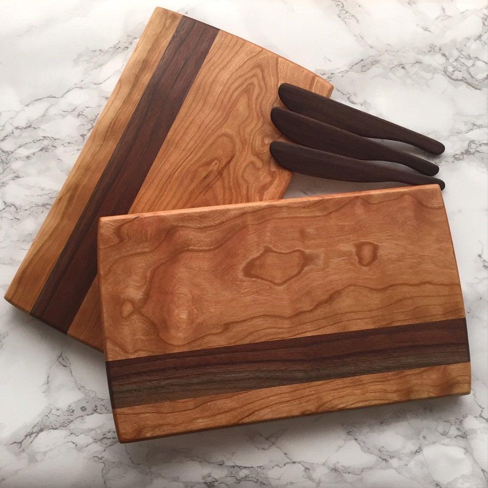 Image of Cherry & walnut striped serving board