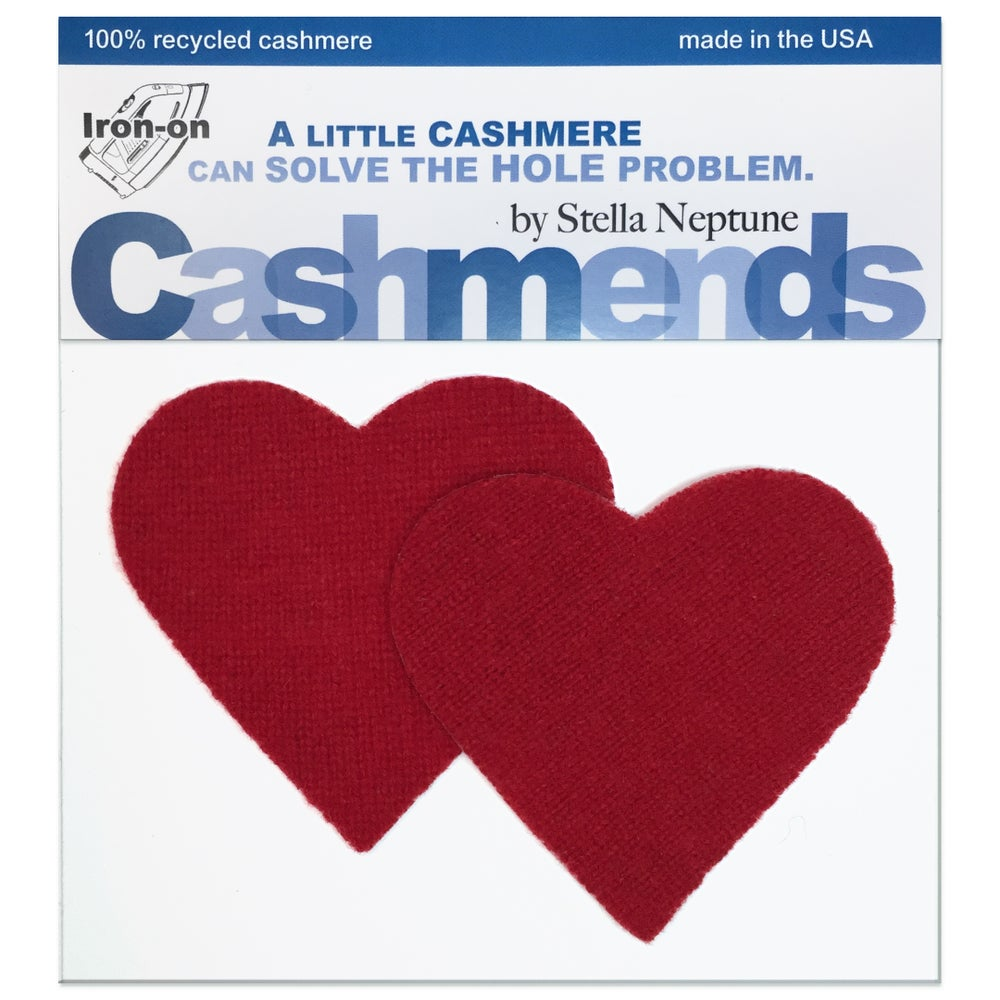 Image of Iron-On Cashmere Elbow Patches -Classic Red Hearts