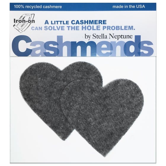 Image of Iron-On Cashmere Elbow Patches - Dark Gray Hearts