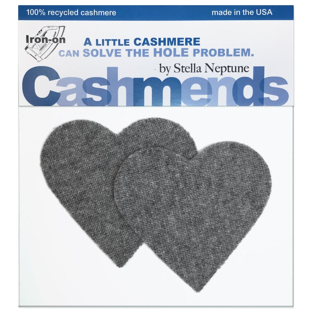Image of Iron-On Cashmere Elbow Patches - Medium Grey Hearts