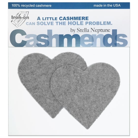 Image of Iron-On Cashmere Elbow Patches - Light Gray Hearts