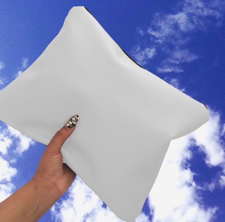 Image of White Oversized Faux Leather Clutch Bag