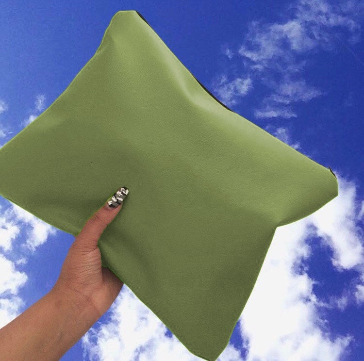 Image of Khaki Oversized Faux Leather Clutch Bag