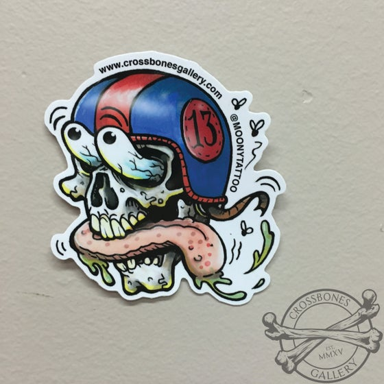 Image of Skull Helmet Vinyl Sticker
