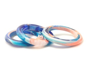 Image of Peach and Turquoise Slender Bangle