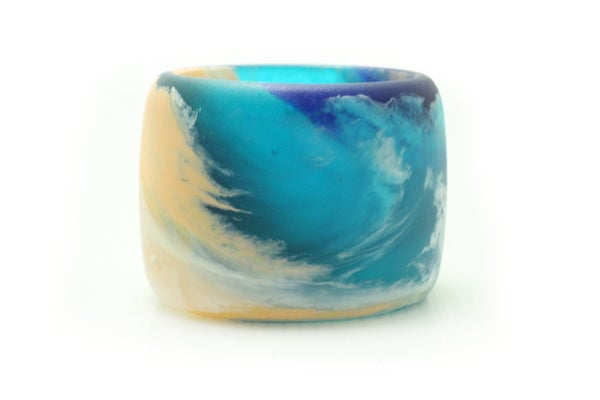 Image of Peach and Turquoise Tall Bangle