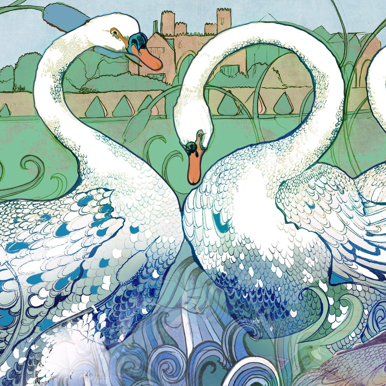 Image of A Beautiful Swan - Greetings Card