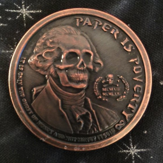 Image of Paper is Poverty 1oz Copper Challenge Coin