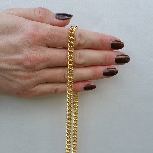 """Image of GOLD Chain Purse Strap - Mini Classy Curb Chain - 1/4"""" Wide - Choice of Length & Attachable Hooks"""