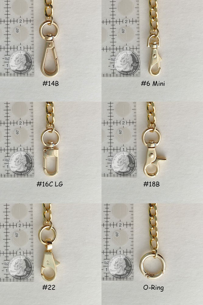 Image of GOLD Chain Strap with Leather Petite Handle -Classy Curb Diamond Cut- Choice of Length & Hooks