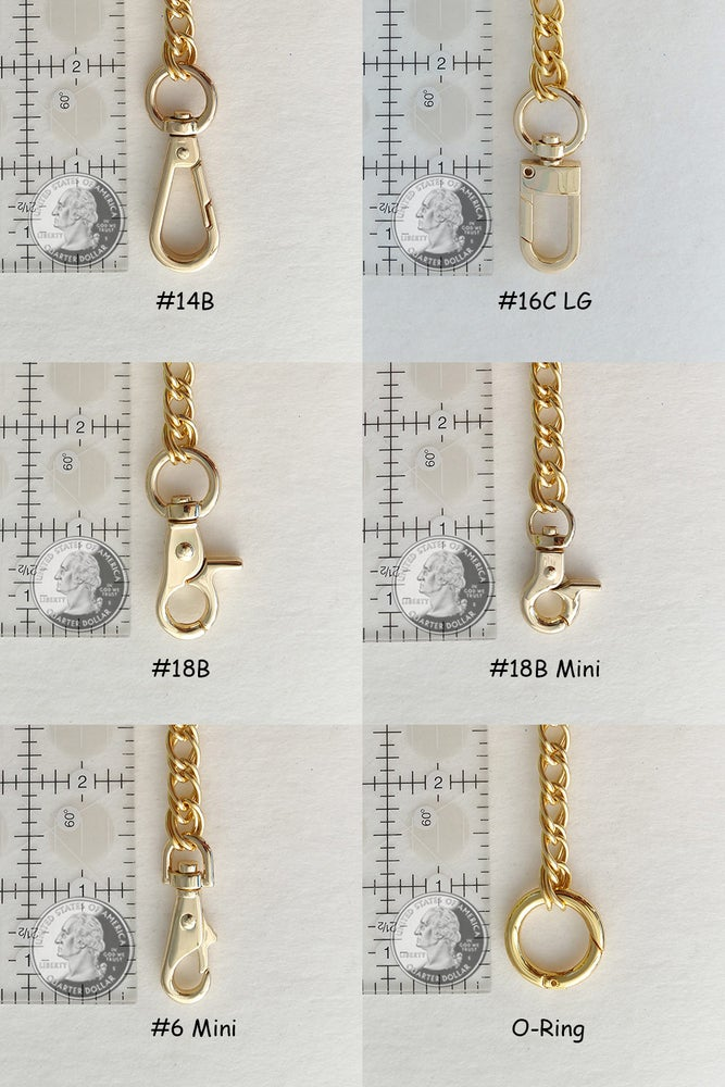 Image of GOLD Chain Strap with Leather Petite Handle -Double Curb Chain- Choice of Length & Attachable Hooks