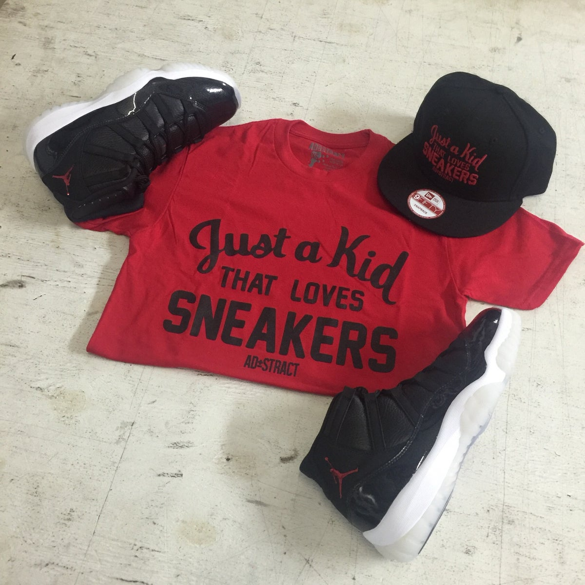 """Image of JUST A KID THAT LOVES SNEAKERS """"RED"""" TSHIRT (MENS)"""