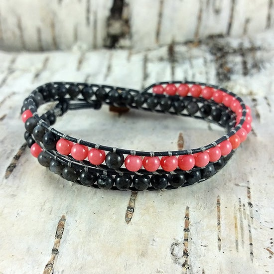 Image of Grey Larvikite and Coral Beads on Grey Leather Double Wrap Bracelet