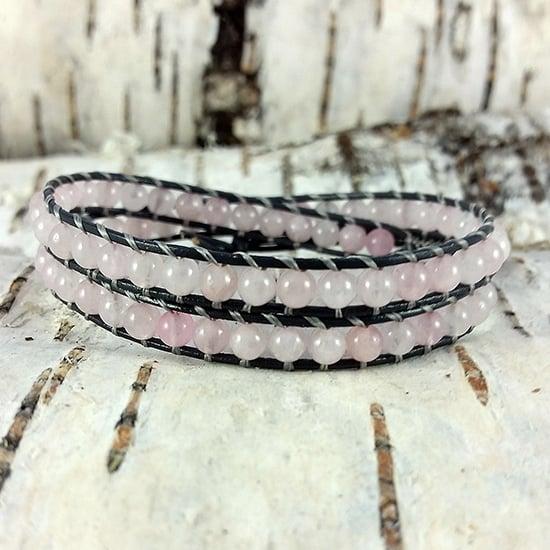 Image of Rose Quartz Beads on Grey Leather Double Wrap Bracelet