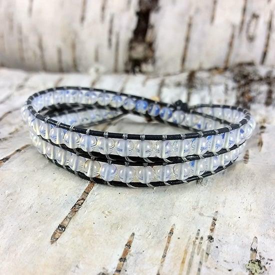 Image of Moonstone Beads on Grey Leather Double Wrap Bracelet