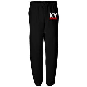 Image of KY Raised Black / White / Red Closed Bottom Sweatpants