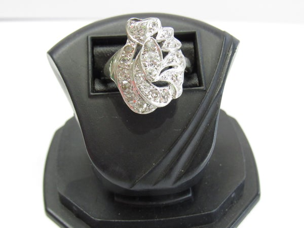 Image of 14kt white gold Deco Diamond cocktail Ring