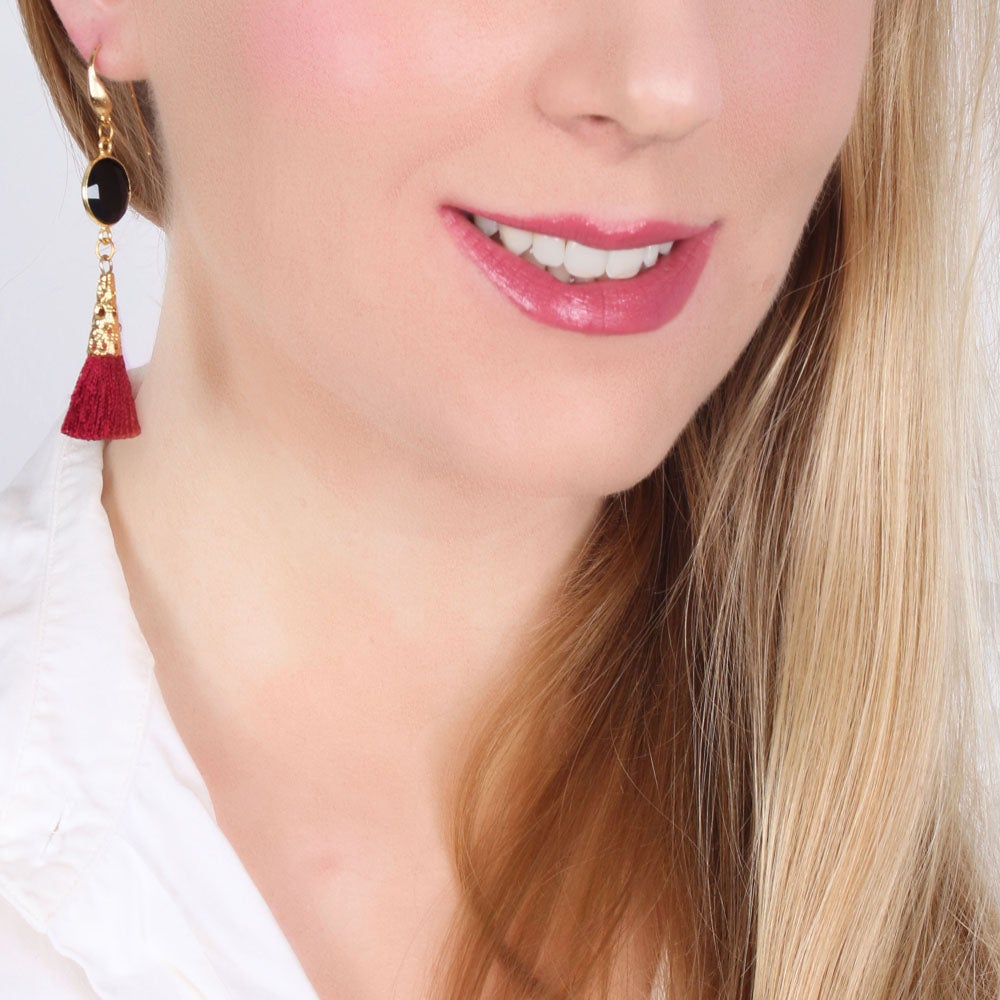 Image of ONYX & BORDEAUX TASSEL EARRINGS
