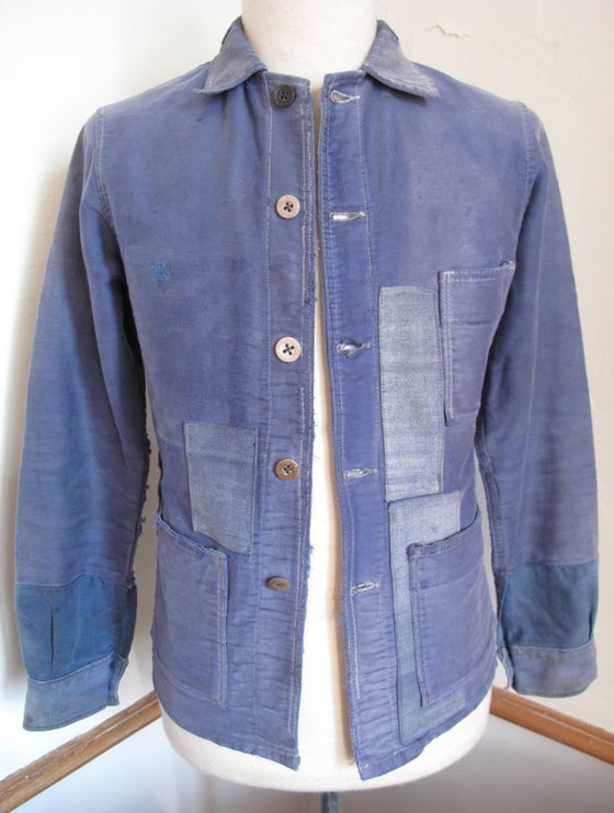 Image of <b>1920's Vintage Faded & Patched French Moleskin Work Jacket</b>