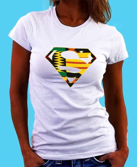 Image of Afro Superwoman Tee shirt with Kente hand crafted applique
