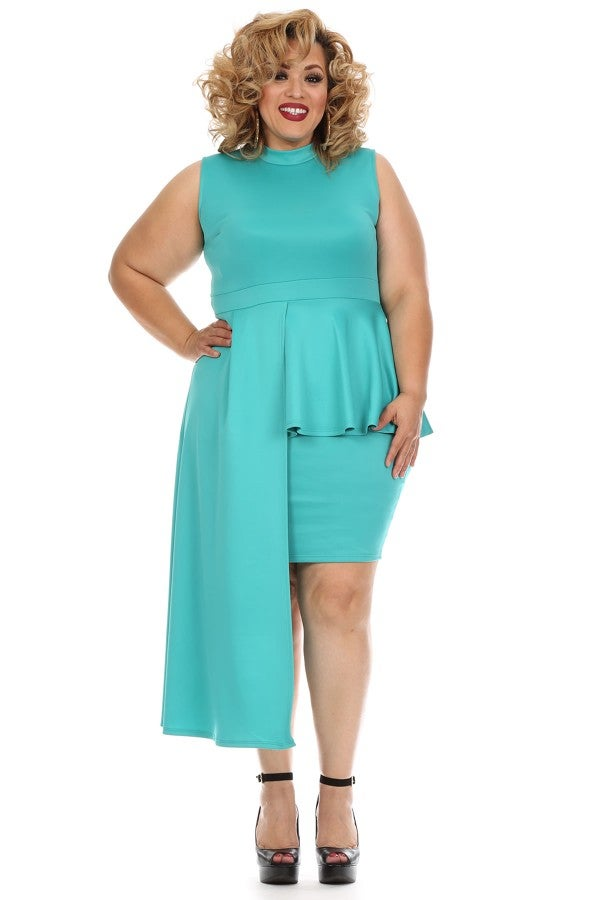Image of Aqua Fan Peplum