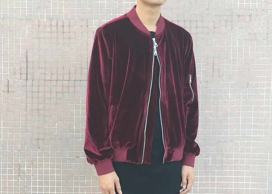 Image of Velour Bomber Jacket in red