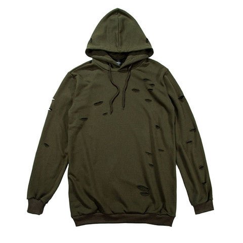 Image of KHAKI // DISTRESSED PULLOVER HOODIE