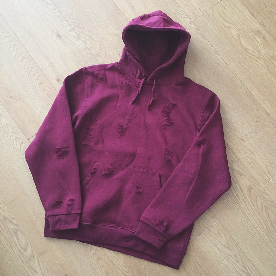 Image of BURGUNDY // DISTRESSED PULLOVER HOODIE