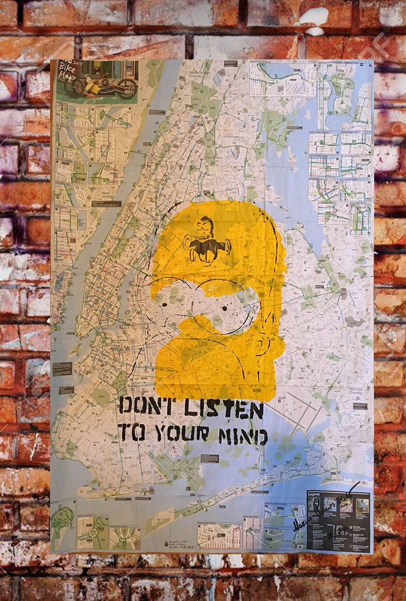 """Image of SIMPSONS! ORIGINAL ARTWORK """"DONT LISTEN TO YOUR MIND"""". ON NEW YORK CITY BIKE AND SUBWAY MAPS."""