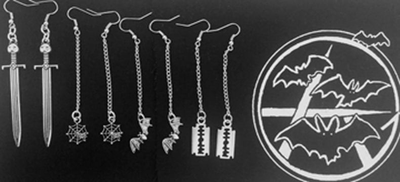 Image of Goth Mommy Earrings // bats / spiders / swords / blades
