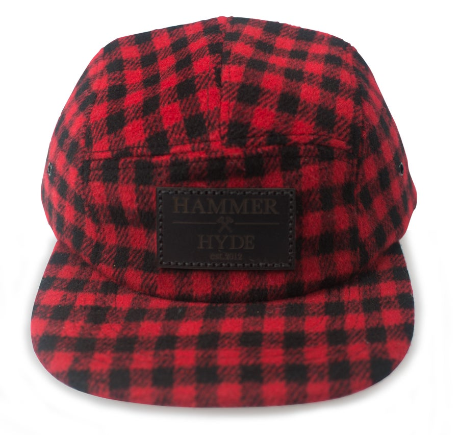 Image of Red & Black Buffalo Plaid 5 Panel Hat